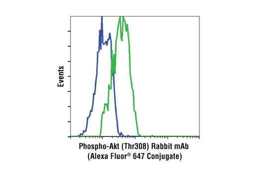 Flow cytometric analysis of NIH-3T3 cells, untreated (blue), or PDGF-treated (green), using Phospho-Akt (Thr308) (C31E5E) Rabbit mAb (Alexa Fluor® 647 Conjugate).