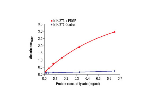 The relationship between lysate protein concentration from untreated and PDGF-treated NIH/3T3 cells and the absorbance at 450 nm using PathScan ® Phospho-Akt (Thr308) Sandwich ELISA Antibody Pair #7144 is shown. After overnight starvation, NIH/3T3 cells were treated with PDGF (50 ng/ml) for 10 minutes at 37ºC and then lysed.